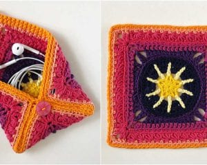 Granny Square Pouch or Coin Purse Free Crochet Pattern