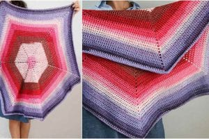 Ombre Hexagon Blanket Free Crochet Pattern