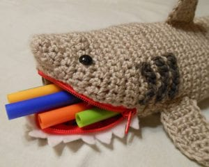 Shark Pencil Case Free Crochet Pattern