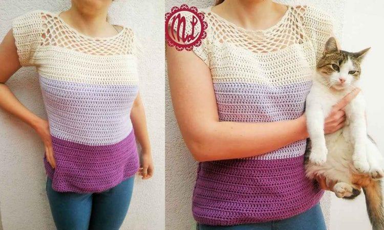 Simply Cute Blouse Free Crochet Pattern