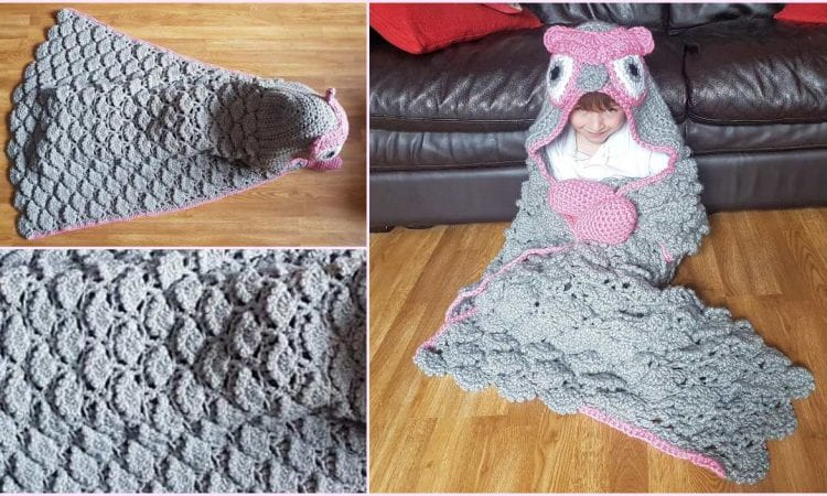 2 in 1 Woodland Owl Hooded Blanket Free Crochet Pattern