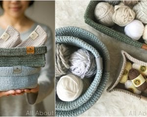 Circular Carry-All Tray Containers Free Crochet Pattern