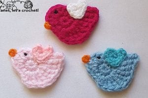 Bird Applique Free Crochet Pattern