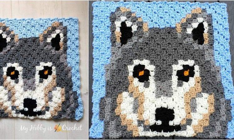 Gray Wolf C2C Square Free Crochet Pattern