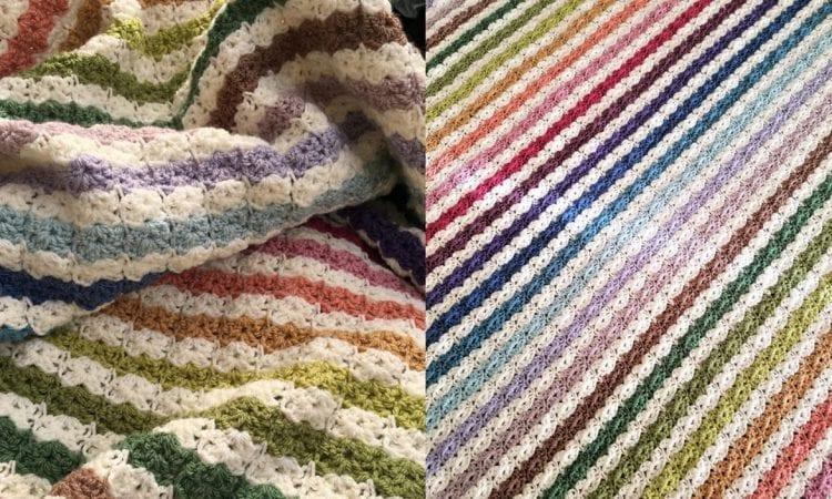 Hydragea Stripe Blanket Free Crochet Pattern