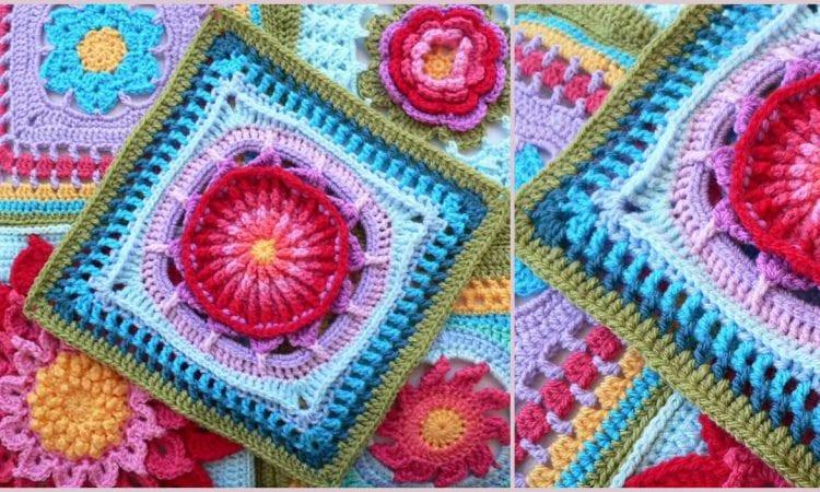 Prince Protea Square Free Crochet Pattern