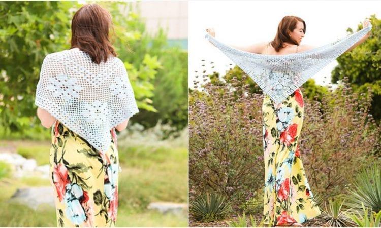 Frontier Lacy Shawl Free Crochet Pattern