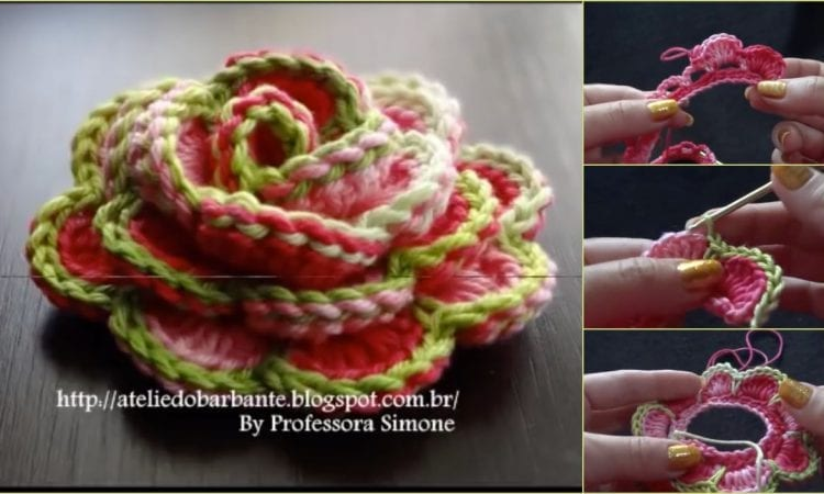 How to Crochet Rose Flower Free Tutorial