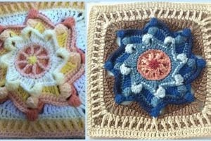 Lollipop Star Square Free Crochet Pattern