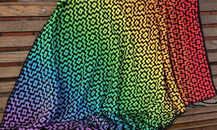 NYA Infinity Mosaic Blanket Free Crochet Pattern