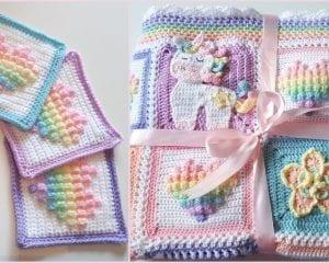 Rainbow Bobble Heart Square Free Crochet Pattern