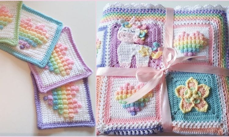 Rainbow Bobble Heart Square Free Crochet Pattern