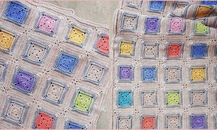 Squared Blanket Free Crochet Pattern
