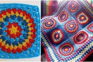 Squaring the Big Circle Afghan Block Free Crochet Pattern
