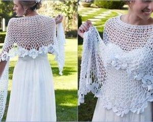 Beautiful Bridal Shawl Free Crochet Pattern