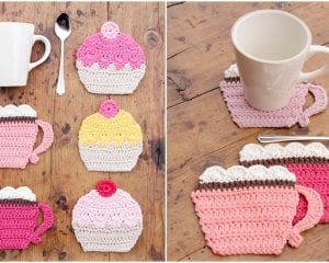 Coffee Cup and Cake Coasters Free Crochet Pattern