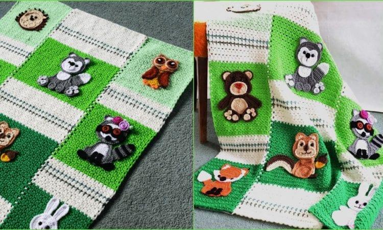 Forest Friends Baby Blanket Free Crochet Pattern