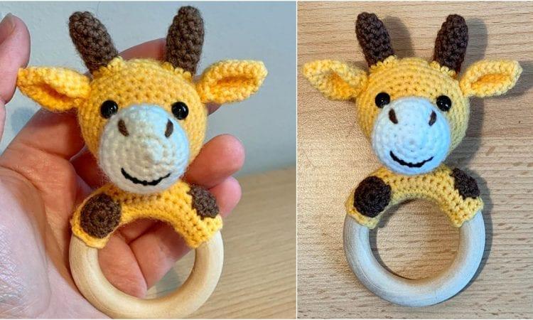 Giraffe Teething Ring Rattle Free Crochet Pattern