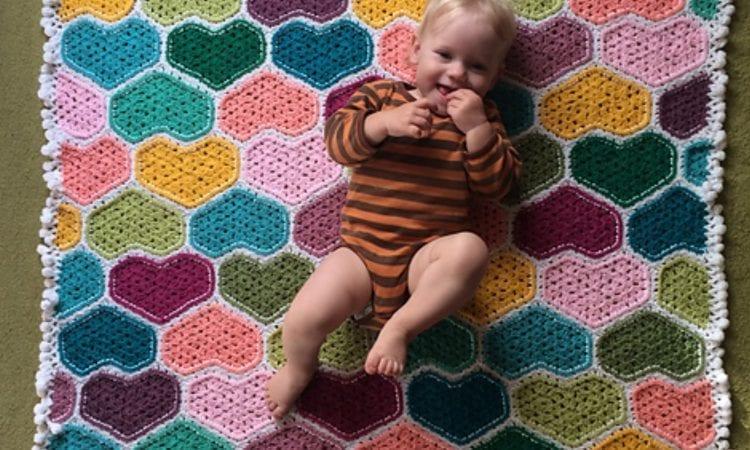 Granny Heart Baby Blanket Free Crochet Pattern