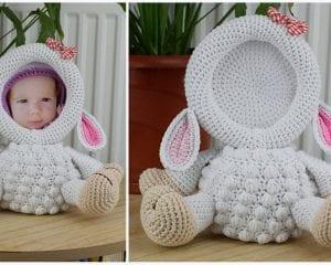 Lamb Photo Frame Free Crochet Pattern