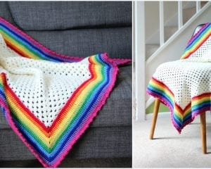 Rainbow Edged Granny Square Baby Blanket Free Crochet Pattern