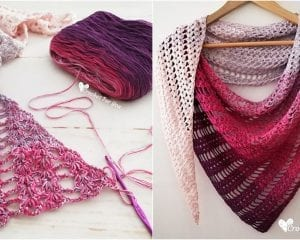 Shell and Lace Shawl Free Crochet Pattern