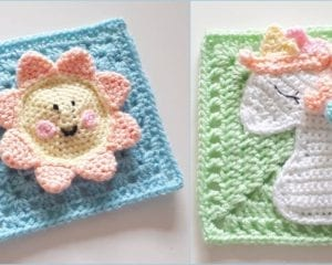 Happy Sun Square and Sleeping Unicorn Squares Free Patterns