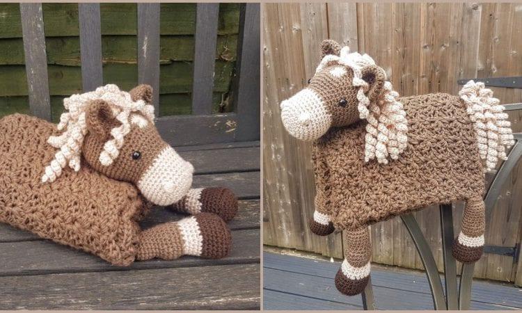 3 in 1 Farm Horse Folding Baby Blanket Free Crochet Pattern
