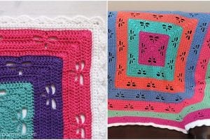 Radiating Dragonflies Throw Free Crochet Pattern