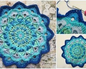 Peacock Feather Mandala Free Crochet Pattern